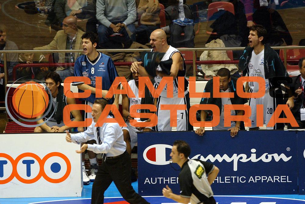 DESCRIZIONE: Forli Lega A1 2005-06 Coppa Italia Tim Cup Carpisa Napoli Benetton Treviso<br />GIOCATORE: Team Carpisa Napoli<br />SQUADRA: Carpisa Napoli<br />EVENTO: Campionato Lega A1 2005-2006 Coppa Italia Final Eight Tim Cup SemiFinale<br />DATA: 18/02/2006<br />CATEGORIA: Esultanza<br />SPORT: Pallacanestro<br />AUTORE: Agenzia Ciamillo-Castoria/G.Ciamillo<br />Galleria: Coppa Italia 2005-2006<br />Fotonotizia: Forli Campionato Italiano Lega A1 2005-2006 Coppa Italia Final Eight Tim Cup Semifinae Carpisa Napoli Benetton Treviso<br />Predefinita:
