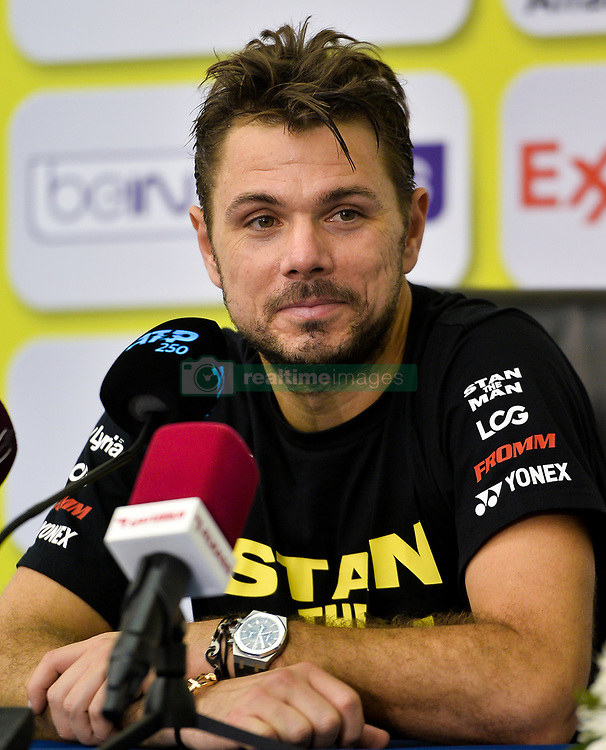 Stan Wawrinka of Switzerland speaks during a press conference ahead of the ATP Qatar Open tennis tournament 2019 at the Khalifa International Tennis Compl?ex in Doha, capital of Qatar, on December 31, 2018. Qatar Open run from December 31,2018 to January 05, 2019  (Credit Image: © Yangyuanyong/Xinhua via ZUMA Wire)
