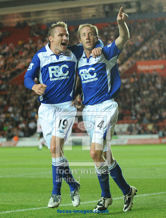 Southampton - Tuesday, August 28th, 2009: Lee Bowyer of Birmingham City celebrates his equaliser during the Carling Cup 2nd Round match at St Marys. (Pic by Alex Broadway/Focus Images)
