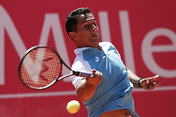 May 2, 2017 - Estoril, Portugal - Spanish tennis player Nicolas Almagro returns the ball to French player Benoit Paire during their Millennium Estoril Open ATP Singles 1st round  tennis match, in Estoril, near Lisbon,  on May 2, 2017. Spanish tennis player Nicolas Almagro won 63 and 62. (Credit Image: © Carlos Palma/NurPhoto via ZUMA Press)