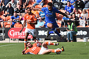Blackpool Defender, Oliver Turton (20) and Oldham Athletic Forward, Aaron Holloway (10)  during the EFL Sky Bet League 1 match between Blackpool and Oldham Athletic at Bloomfield Road, Blackpool, England on 26 August 2017. Photo by Mark Pollitt.