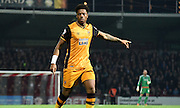 Chuba Akpom gives orders during the Sky Bet Championship match between Brentford and Hull City at Griffin Park, London, England on 3 November 2015. Photo by Michael Hulf.