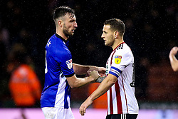 Billy Sharp of Sheffield United and Morgan Fox of Sheffield Wednesday shake hands - Mandatory by-line: Robbie Stephenson/JMP - 09/11/2018 - FOOTBALL - Bramall Lane - Sheffield, England - Sheffield United v Sheffield Wednesday - Sky Bet Championship