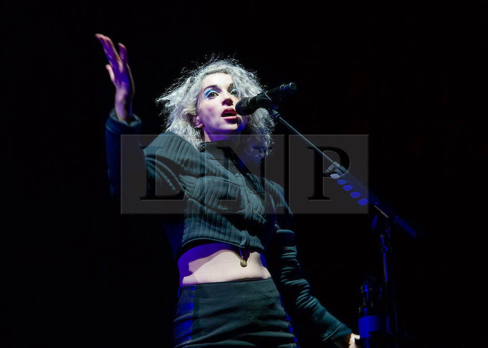 """© Licensed to London News Pictures. 29/05/2014. Barcelona, Spain.   St Vincent performing live at .   In this picture - Anne Erin """"Annie"""" Clark better.  Anne, known by her stage name St. Vincent, is an American musician, singer-songwriter, and multi-instrumentalist. She began her music career as a member of The Polyphonic Spree and was also part of Sufjan Stevens' touring band before forming her own band in 2006.   Primavera Sound, or simply Primavera, is an annual music festival that takes place in Barcelona, Spain in late May/June within the Parc del Fòrum leisure site. Photo credit : Richard Isaac/LNP"""