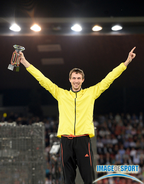 Aug 29, 2013; Zurich, SWITZERLAND; Bohdan Bondarenko (UKR) poses with the high jump winners trophy at 2013 Weltklasse Zürich at Letzigrund Stadium. Photo by Jiro Mochizuki