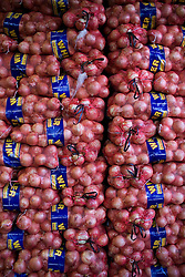 Bags of onions are stored at the Central de Abasto, Mexico's main fruit and vegetable market, on Tuesday, October 20, 2009, in Mexico City, Mexico.  A