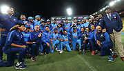 The Indian team celebrate heir series win during the Fifth ODI of the 2019 ANZ International ODI Series. Blackcaps v India at Westpac Stadium, Wellington, Sunday 3rd February 2019. © Copyright Photo: Grant Down / www.photosport.nz