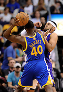 Apr 5, 2013; Phoenix, AZ, USA; Phoenix Suns forward Jared Dudley (3) watches the ball as he defends Golden State Warriors forward Harrison Barnes (49) in the second half at US Airways Center. The Warriors defeated the Suns 111-107. Mandatory Credit: Jennifer Stewart-USA TODAY Sports