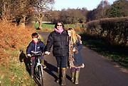 ARM4ED Family country walk down a quiet lane Butley Suffolk England