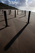 Shadows of poles on the sand. Late afternoon, the beach near Castricum, Netherlands, October 2010