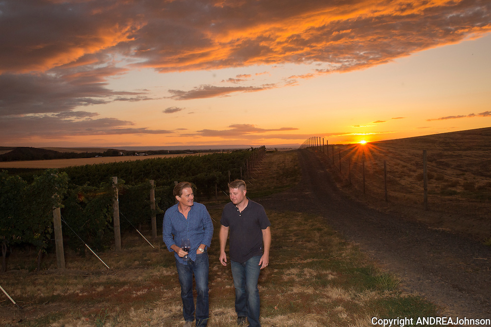 Kyle MacLachlan with winemaker Dan Wampfler (Winemaker for Kyle's Pursued by Bear wine and Dunham Cellars) at Kenny Hill Vineyard, Walla Walla, Washington