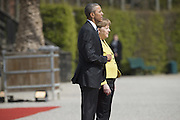April 24, 2016 - Hanover, Germany - <br /> <br /> German Chancellor Angela Merkel and US President Barack Obama are pictured as they arrive to inspect a military guard of honour at Herrenhausen Palace in Hanover, Germany on April 24, 2016. <br /> ©Exclusivepix Media