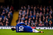 injured Chelsea (10) Eden Hazard  during the Premier League match between Chelsea and West Ham United at Stamford Bridge, London, England on 8 April 2018. Picture by Sebastian Frej.