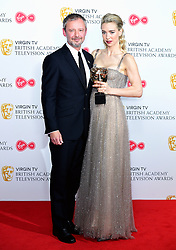 Vanessa Kirby with her award for Best Supporting Actress alongside presenter John Simm in the press room at the Virgin TV British Academy Television Awards 2018 held at the Royal Festival Hall, Southbank Centre, London.