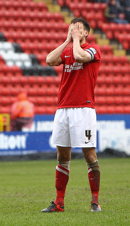 Picture by John  Rainford/Focus Images Ltd +44 7506 538356.16/03/2013.Johnnie Jackson of Charlton Athletic reacts to Kermorgant's free-kick going narrowly wide during the npower Championship match at The Valley, London.