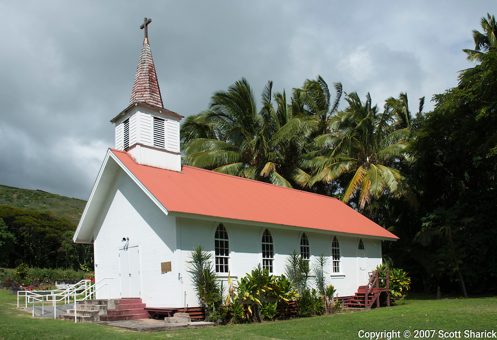 The small island of Molokai, Hawaii is home to many small churches.