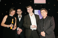 Music Export Award winners Crisis Management - Karen Boardman and Tim Mullet with James Sellar and Phil Patterson