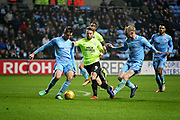 Peterborough United forward Matt Godden (9) in a rare Posh attack during the EFL Sky Bet League 1 match between Coventry City and Peterborough United at the Ricoh Arena, Coventry, England on 23 November 2018.