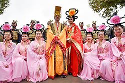 © Licensed to London News Pictures. 07/11/2017. London, UK.  Dancers wearing traditional Chinese Han dynasty costumes stage a performance on the South Bank as part of a promotion of China's Shaanxi province during World Travel Market, the leading global event for the travel industry, which is taking place in East London.  Photo credit: Stephen Chung/LNP