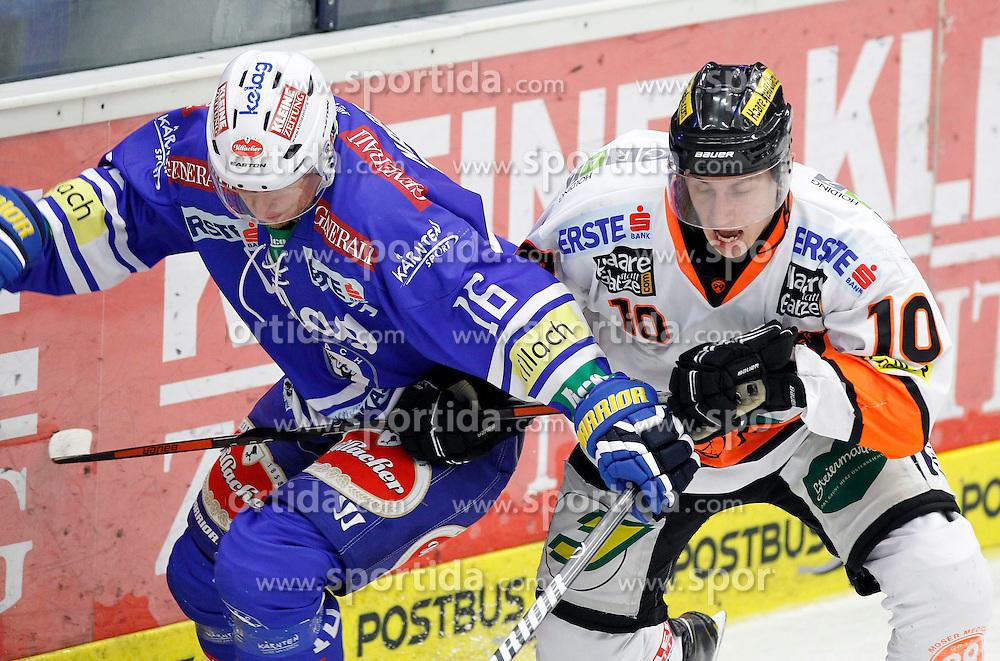 27.10..2013, Stadthalle, Villach, AUT, EBEL, EC VSV vs Moser Medical Graz99ers, 28. Runde, im Bild Daniel Nageler (VSV,#16) und Zintis Zusevics (Graz99ers,#10) // during the Erste Bank Icehockey League 28th round between EC VSV vs Moser Medical Graz99ers, at the City Hall, Villach, Austria, 2013/10/27, EXPA Pictures © 2013, PhotoCredit: EXPA/ Oskar Hoeher