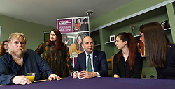 Pictured: The Miinistertook time out to chat over a drink with Zlatina from Bulgaria, Simona from Italy, and Petr from the Czech Republic with Support Practitioner Kat Todorza (standing)<br /> <br /> Migration minister Ben Macpherson visited social care provider Carr Gomm in Edinburgh today where he discussed with staff how proposed new UK immigration rules will hamper the recruitment of health and social care workers from outside the UK and Ireland. <br /> <br /> <br /> Ger Harley | EEm 21 March 2019