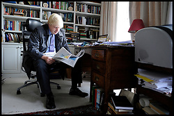 London Mayor Boris Johnson in his office during the Mayoral Campaign, London, UK, April 21, 2012. Photo By Andrew Parsons / i-Images.