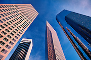 Low angle view of office buildings in the Central Business District, Los Angeles, California