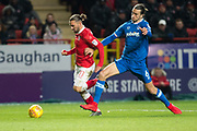 Charlton Ricky Holmes (11) takes on Portsmouth defender Christian Burgess (6) during the EFL Sky Bet League 1 match between Charlton Athletic and Portsmouth at The Valley, London, England on 9 December 2017. Photo by Robin Pope.
