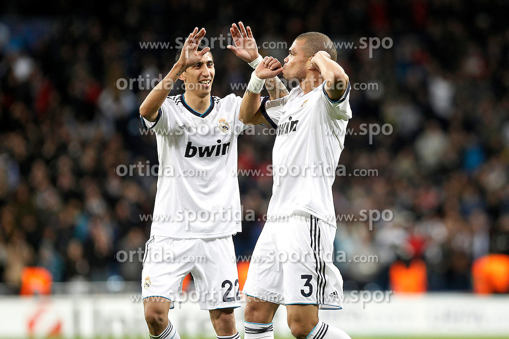 06.11.2012, Estadio Santiago Bernabeu, Madrid, ESP, UEFA CL, Real Madrid vs Borussia Dortmund, im Bild Real Madrid's Pepe (r) and Angel Di Maria celebrate goal // during UEFA Championsleague Match between Real Madrid and Borussia Dortmund at the Estadio Santiago Bernabeu, Madrid, Spain on 2012/11/06. EXPA Pictures © 2012, PhotoCredit: EXPA/ Alterphotos/ Acero..***** ATTENTION - OUT OF ESP and SUI *****