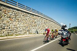 David Per (SLO) of Adria Mobil, Lorenzo Fortunato (ITA) of Neri Sottoli Selle Italia KTM and Rok Korosec (SLO) of Ljubljana Gusto Santic during 2nd Stage of 26th Tour of Slovenia 2019 cycling race between Maribor and  Celje (146,3 km), on June 20, 2019 in Celje, Maribor, Slovenia. Photo by Vid Ponikvar / Sportida