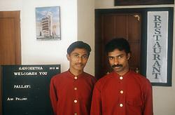 Porters wearing uniform working at the Sangheeta Hotel; Cochin; Kerala; India,