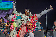 Shibusashirazu Orchestra puts on a colourful and eccentric performance on the West Holts Stage - The 2016 Glastonbury Festival, Worthy Farm, Glastonbury.