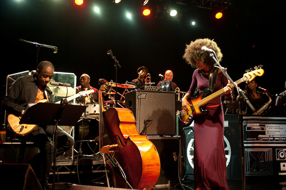 London, UK - 28th May 2012: Esperanza Spalding performs live at the Koko Club. Esperanza is a grammy-award winner bassist, vocalist and composer from Portland, Oregon and begun her solo artist career in 2008.