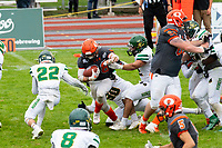 KELOWNA, BC - SEPTEMBER 22: Kelton Kouri #38 of Okanagan Sun runs the ball up the middle against the Valley Huskers  at the Apple Bowl on September 22, 2019 in Kelowna, Canada. (Photo by Marissa Baecker/Shoot the Breeze)