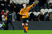 Keane Lewis-Potter of Hull City celebrates & gestures towards the Hull city Fans at full time during the EFL Sky Bet Championship match between Hull City and Birmingham City at the KCOM Stadium, Kingston upon Hull, England on 21 December 2019.