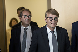 July 28, 2017 - Berlin, Germany - German Transport Minister Alexander Dobrindt (L) and Deutsche Bahn (DB, German Railways) Infrastructure Manager Ronald Pofalla (R) arrive to a news conference regarding the future opening of the high speed connection Berlin - Munich at the DB headquarters in Berlin, Germany on July 28, 2017. (Credit Image: © Emmanuele Contini/NurPhoto via ZUMA Press)