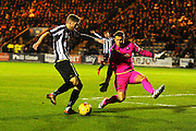 Jonathan Stead (30) of Notts County shoots wide as Luke McCormick (23) of Plymouth Argyle closes him down during the EFL Sky Bet League 2 match between Plymouth Argyle and Notts County at Home Park, Plymouth, England on 28 February 2017. Photo by Graham Hunt.
