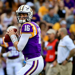 Oct 15, 2016; Baton Rouge, LA, USA;  LSU Tigers quarterback Danny Etling (16) before a game against the Southern Miss Golden Eagles at Tiger Stadium. Mandatory Credit: Derick E. Hingle-USA TODAY Sports