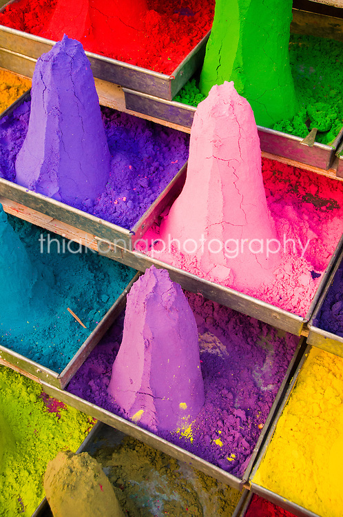 Piles of colorful watercolor paint for sale from a street vendor, Pushkar, India