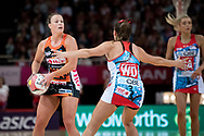 SYDNEY, NSW - JUNE 16: Kim Green of the Giants passes the ball during the round 8 Super Netball match between the Sydney Swifts and the Giants at Qudos Bank Arena on June 16, 2019 in Sydney, Australia.(Photo by Speed Media/Icon Sportswire)