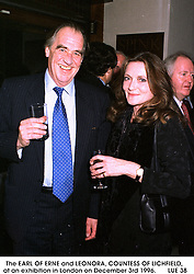 The EARL OF ERNE and LEONORA, COUNTESS OF LICHFIELD, at an exhibition in London on December 3rd 1996.        LUE 38