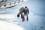 Family, Children, Walking, Hand in Hand, Snowy Landscape,