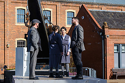 Written and directed by National Theatre of Scotland Associate Director, Simon Sharkey, the Shift  finale at Summerlee Museum is a large-scale, outdoor, multi-media theatrical event featuring  striking video and lighting design and original music and words from punters, poets, playwrights and pen-smiths from across North Lanarkshire. Shiftl tells the stories of the many 'shifts' put in by the workers who built the world and created our future. The show runs at Summerlee Museum in Coatbridge from 29 March to 1 April 2018.<br /> <br /> Professional cast L to R:  Stephen Clyde, Katie Barnett, Fletcher Mathers and Daniel Cahill.<br /> <br /> (c) Andrew Wilson | Edinburgh Elite media