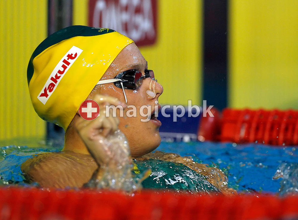 Tayliah ZIMMER of Australia looks back after competing in the women's 50m Backstroke semifinal in the Susie O'Neill pool at the FINA Swimming World Championships in Melbourne, Australia, Wednesday 28 March 2007. (Photo by Patrick B. Kraemer / MAGICPBK)