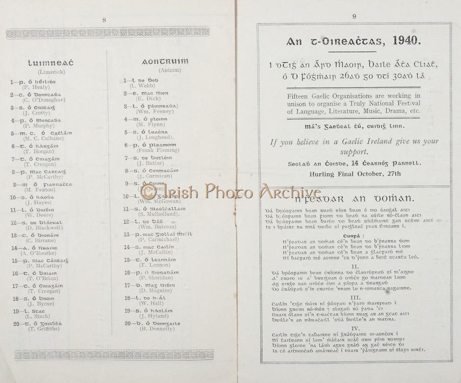 All Ireland Senior Hurling Championship Final,.Brochures,.01.09.1940, 09.01.1940, 1st September 1940, .Kilkenny 1-7, Limerick 3-7, .Minor Limerick v Antrim,.Senior Kilkenny v Limerick, .Croke Park, 0191940AISHCF,..Limerick Minor, P Healy, C O'Donoghue, J Crotty, P Murphy, M C Culhane, T Horgan, T Creegan, P McCarthy, M Fenton, J Hayes, W Deere, D Blackwell, C Birrane, A O'Rourke, P McCarthy, T O'Brien, T Creegan, J Byrne, L Stack, T Griffiths, ..Antrim Minor, L Webb, E Dick, Wm Feeney, M Flynn, J Loughead, Frank Fleming, J Butler, J Cormican, J Quinn, Wm McGowan, S Mulholland, Wm Bateson, P Carmichael, J McCallin, T Lennon, P Sheridan, D Maguire, W Hall, J Hyland, B Donnelly, ..Advertisements, An t-Oireactas 1940, ..Songs, N'Feavar An Doman,