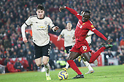 Liverpool forward Sadio Mane (10) shoots on goal during the Premier League match between Liverpool and Manchester United at Anfield, Liverpool, England on 19 January 2020.