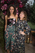 ROSANNA FALCONNER,; CLAUDIA BAILEY, spotted at Bloom & Wild's exclusive event at 5 Hertford Street last night. 5 September 2017. The event was announcing the new partnership between the UK's most loved florist, Bloom & Wild and British floral design icon Nikki Tibbles Wild at Heart. Cocooned in swaths of vibrant Autumn blooms, guests enjoyed floral-inspired cocktails from Sipsmith and bubbles from Chandon, with canapés put on by 5 Hertford Street. Three limited edition bouquets from the partnership can be bought through Bloom & Wild's website from the 1st September.  bloomandwild.com/WAH