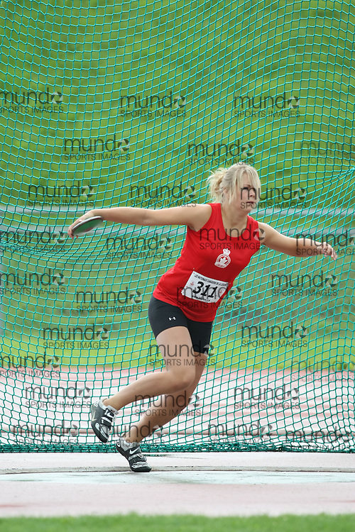 (Sherbrooke, Quebec---10 August 2008) Madison Johnston competing in the youth girls discus at the 2008 Canadian National Youth and Royal Canadian Legion Track and Field Championships in Sherbrooke, Quebec. The photograph is copyright Sean Burges/Mundo Sport Images, 2008. More information can be found at www.msievents.com.