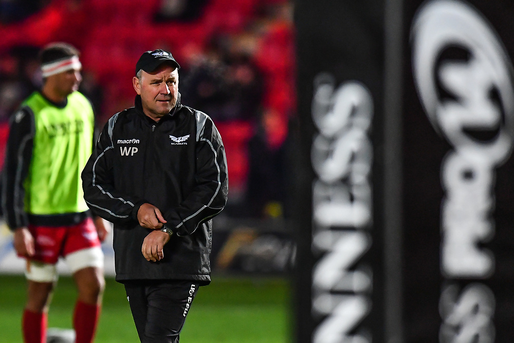 Scarlets' Head Coach Wayne Pivac during the pre match warm up<br /> <br /> Photographer Craig Thomas/Replay Images<br /> <br /> Guinness PRO14 Round 13 - Scarlets v Dragons - Friday 5th January 2018 - Parc Y Scarlets - Llanelli<br /> <br /> World Copyright © Replay Images . All rights reserved. info@replayimages.co.uk - http://replayimages.co.uk