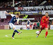 Scotland's Ryan Gauld shoots during Scotland Under-21 v FYR Macedonia,  UEFA Under 21 championship qualifier  at Tynecastle, Edinburgh. Photo: David Young<br /> <br />  - © David Young - www.davidyoungphoto.co.uk - email: davidyoungphoto@gmail.com